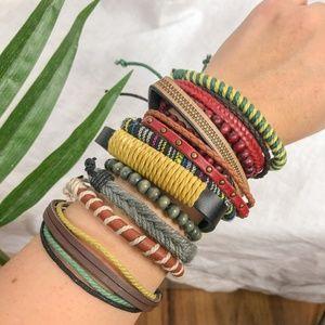 Men's Leather Braided Wrap Adjustable Bracelets